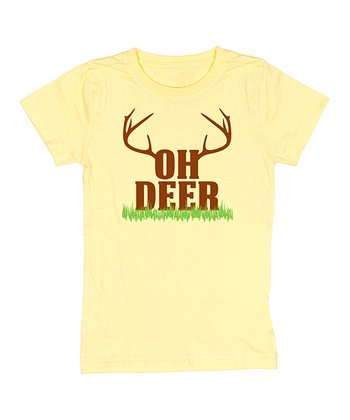 Butter Yellow 'Oh Deer' Tee - Girls