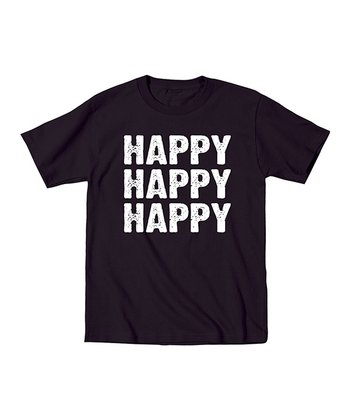 Black 'Happy Happy Happy' Tee - Men