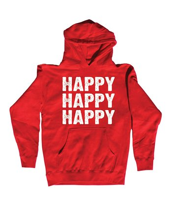 Red 'Happy Happy Happy' Hoodie - Men