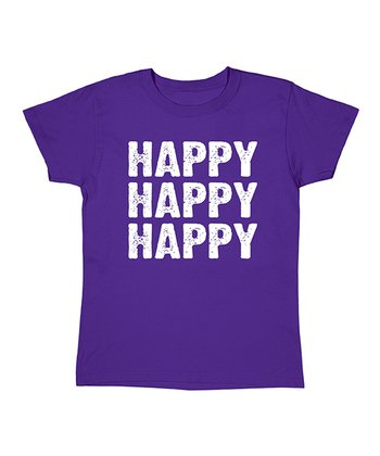 Purple 'Happy Happy Happy' Tee - Women