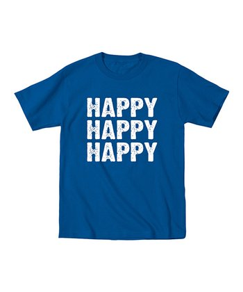 Royal Blue 'Happy Happy Happy' Tee - Kids