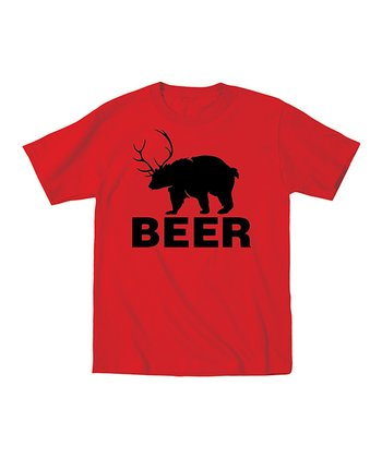 Red 'Beer' Bear Tee - Men