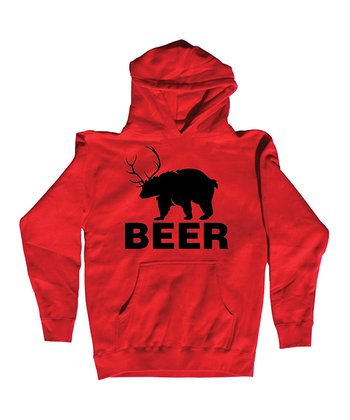 Red 'Beer' Bear Hoodie - Men