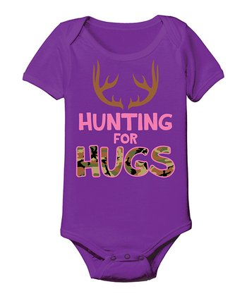 Purple 'Hunting for Hugs' Bodysuit - Infant