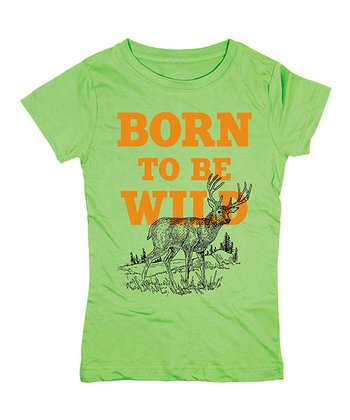 Key Lime 'Born to Be Wild' Fitted Tee - Girls