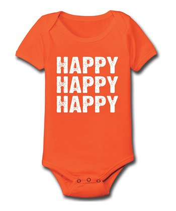 Orange 'Happy Happy Happy' Bodysuit - Infant