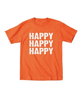 Orange 'Happy Happy Happy' Tee - Toddler & Kids