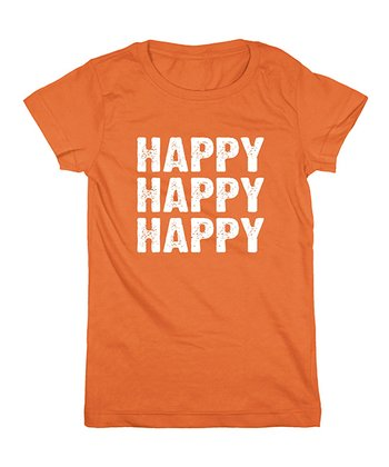 Orange 'Happy Happy Happy' Fitted Tee - Girls