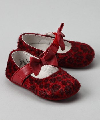 Red Leopard Bow Flat