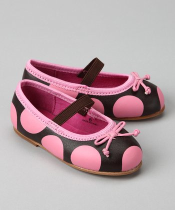 Pink & Brown Polka Dot Ballet Flat