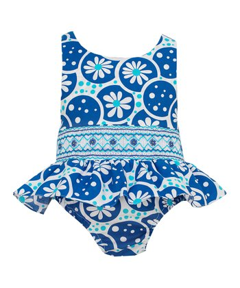 Blue Floral Skirted One-Piece - Infant