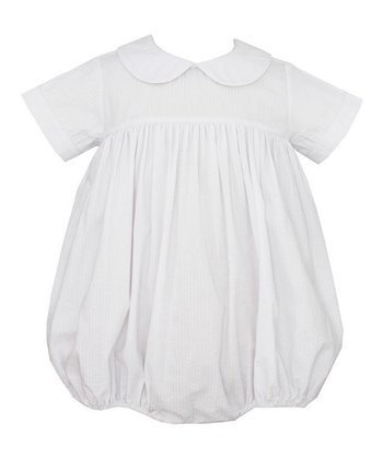 White Short-Sleeve Bubble Romper - Infant