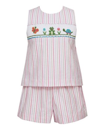 Pink Stripe Pond Pals Tank & Shorts - Toddler & Girls