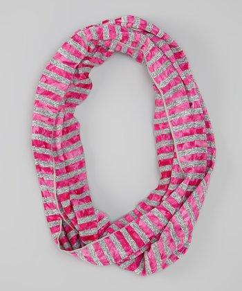 Hot Pink Cloud Stripe Infinity Scarf