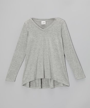 Heather Gray V-Neck Hi-Low Tee - Girls