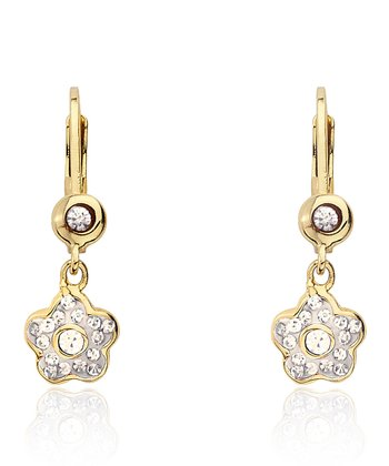 Gold & White Flower Dangle Lever-Back Earrings