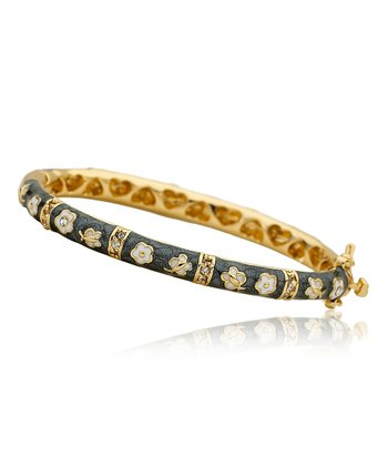 Gold & Gray Butterfly Flower Bangle