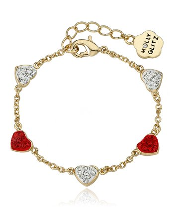 Gold & White Crystal Heart Chain Bracelet