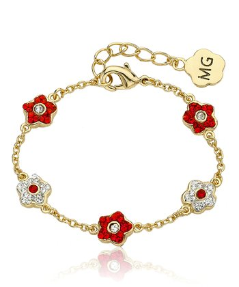 Gold & Red Crystal Flower Bracelet