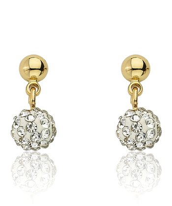 Gold & White Crystal Ball Dangle Earrings