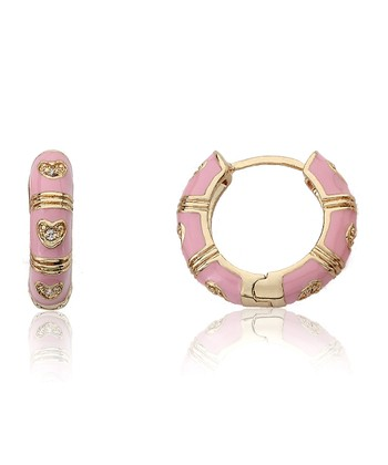 Gold & Pink Crystal Heart Huggie Earrings