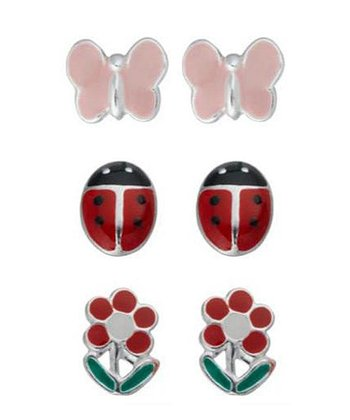 Pink & Sterling Silver Butterfly Stud Earrings Set