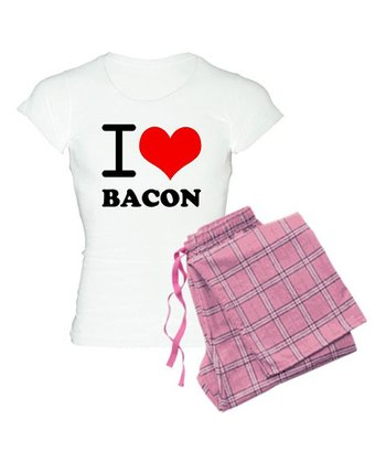 White 'I Love Bacon' Pajama Set - Women