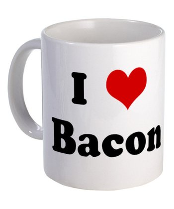 White 'I Love Bacon' Mug