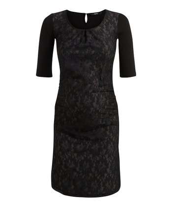 Black Jadyn Maternity Scoop Neck Dress