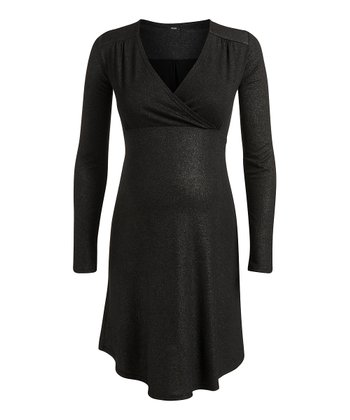 Black Lely Maternity & Nursing Surplice Dress