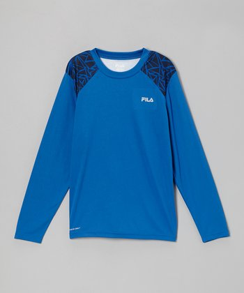 Blue Long-Sleeve Performance Tee - Boys