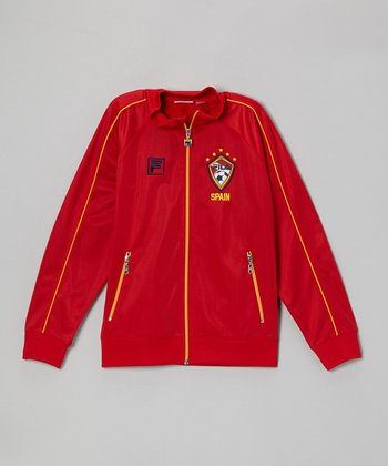 Red 'Spain' Zip-Up Track Jacket - Boys