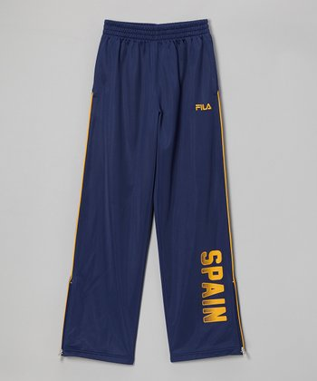Navy & Yellow 'Spain' Track Pants - Boys