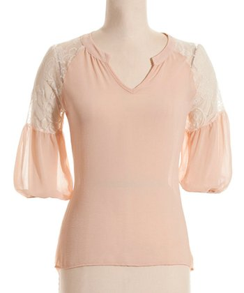 Cream Lace-Panel Three-Quarter Sleeve Top - Women