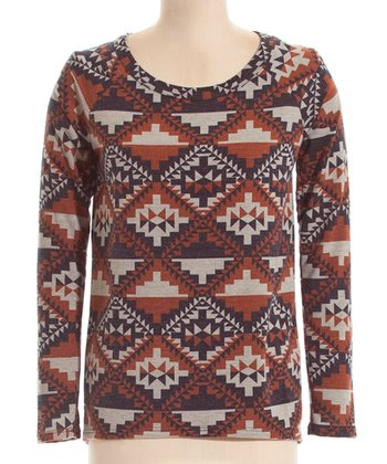Brown & Navy Tribal Sweatshirt