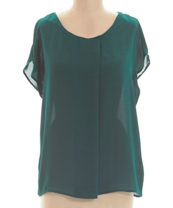 Teal Cape-Sleeve Top