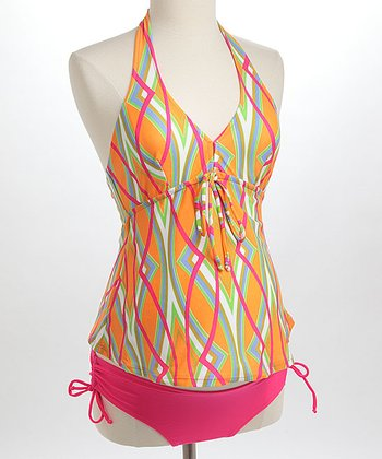 Orange Tribal Maternity Tankini - Women