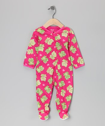 Fuchsia & Green Frog Footie - Infant