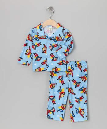 Light Blue Monkey Pajama Set - Infant