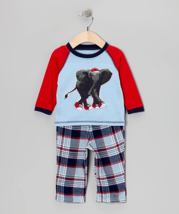 Light Blue & Red Elephant Pajama Set - Infant & Toddler