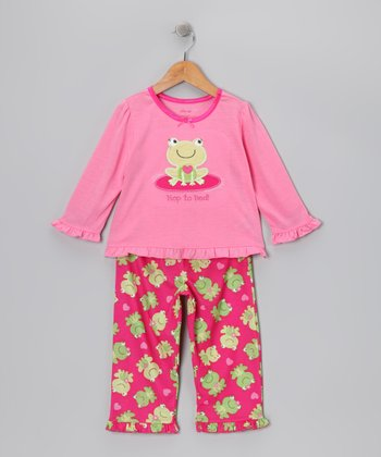 Pink & Green 'Hop to Bed' Frog Pajama Set - Toddler