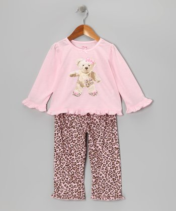 Pink & Brown Leopard Heart Pajama Set - Toddler