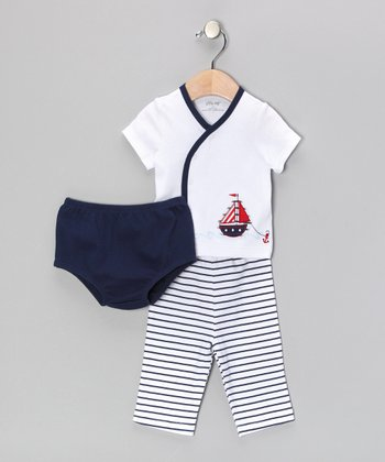 Navy Set Sail Wrap Top Set - Infant