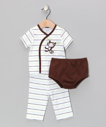 Brown Monkey Around Wrap Top Set - Infant