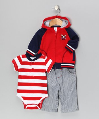 Blue & Red Baseball Jacket Set - Infant