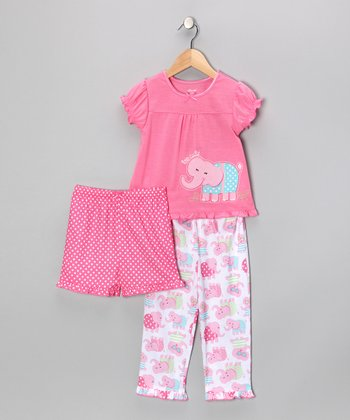 Pink Too Cute Elephant Ruffle Pajama Set - Infant & Toddler