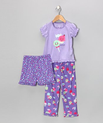 Purple Happy Sweets Ruffle Pajama Set - Infant & Toddler