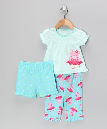 Aqua Skating Bear Ruffle Pajama Set - Infant & Toddler