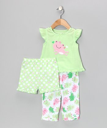 Light Green Frog Princess Ruffle Pajama Set - Infant & Toddler