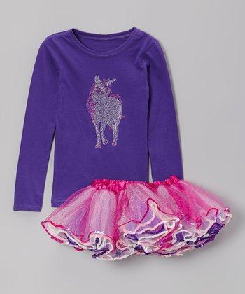 Purple Rhinestone Unicorn Tee & Pink Tutu - Toddler & Girls
